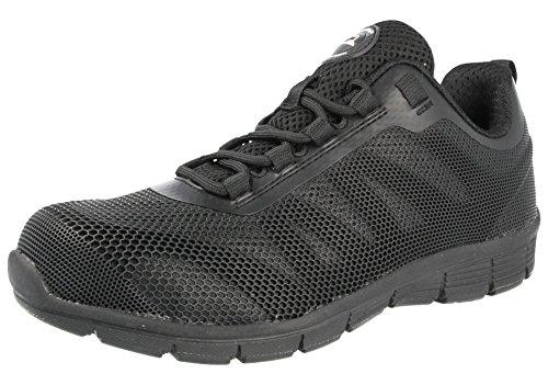 Groundwork Damen Stahlkappe Sicherheit Ultra Light Gewicht Arbeiten mit Spitze Trainer Schuhe, Schwarz - schwarz/schwarz - Größe-40 EU