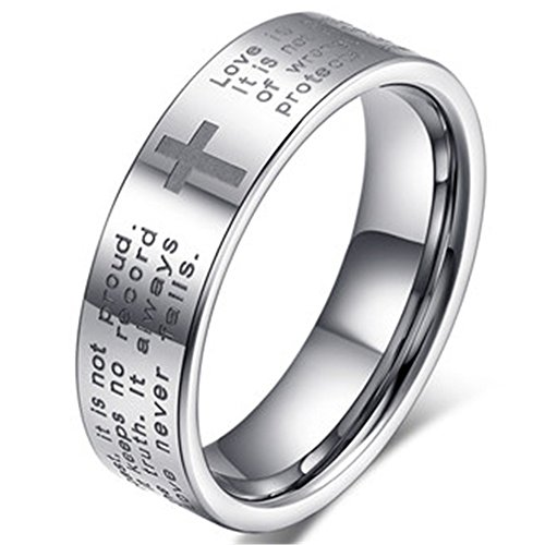 Fashion Month Men Women 6mm Tungsten Carbide White Ring Engraved English Bible Verses About Love Cross Band for Her Him Size 6