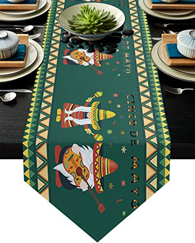 Linen Burlap Table Runner Dresser Scarves Mexico May 5Th Festival Cinco De Mayo Gnome Wear Hat Guitar Green Home Dining Table Decor Table Runner Mat for Farmhouse, Wedding, Party, BBQ- 16 x 72 Inch
