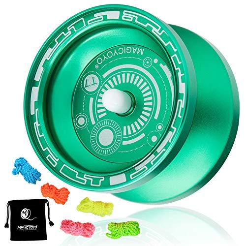 MAGICYOYO Responsive Yoyo T7, Metal Aluminum Yo Yo Professional Yoyo for Kids Beginner with Bag and 5 Replacement Yoyo Strings - Green