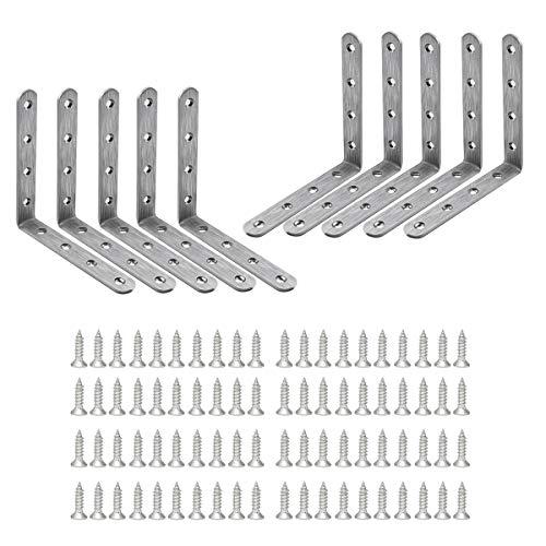 LINVINC Soportes de esquina de acero inoxidable de,Soporte en forma de L de ángulo recto de 90 grados,para silla de madera, con tornillos,125 * 125 * 20mm