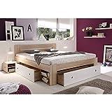 Stella Trading STEFAN Doppelbett Bettanlage 140 x 200 cm mit 2x Nachtkommoden - Schlafzimmer Komplett-Set in Eiche Sonoma Optik, weiß - 145 x 86 x 204 cm (B/H/T) - 2