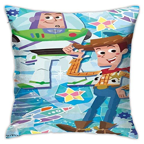 ingshihuainingxiancijies Toy Story Star Throw Pillow Covers 18'X 18'Inch Square Shape Decorative Cushion Cover for Couch Sofa Pillow Set