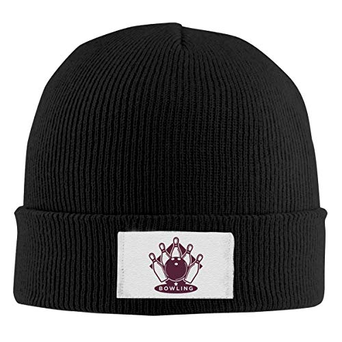 XCNGG Gorro Unisex, Letrero de Bolos, Cobertura de Punto, Sombrero clásico de Color sólido cálido para Invierno Diario al Aire Libre
