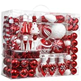 Valery Madelyn 155ct Traditional Christmas Ball Ornaments Decorations Red and White, Shatterproof Christmas Tree Ornaments Assorted Bulk, Themed with Tree Skirt (Not Included)