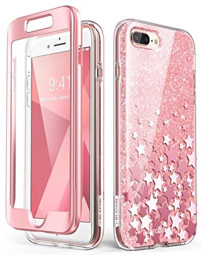 i-Blason iPhone 8 Plus Hülle iPhone 7 Plus Hülle Glitzer Handyhülle Ganzkörper Bumper Hülle Glänzend Schutzhülle Sparkle Clear Cover [Cosmo] mit integriertem Bildschirmschutz (Pink)