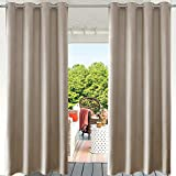 PRAVIVE Blackout Outdoor Curtain Drapes - Indoor/Outdoor Grommet Patio Blinds Waterproof Solid Cabana/Canvas Window Curtain Panels, Taupe, 52' Width by 84' Length, 1 Piece
