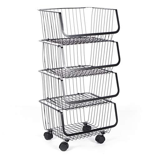 Emoshayoga Tragbarer mobiler Organizer Korbwagen Rollender Vorratsbehälter für Küchenbedarf(4th Floor)