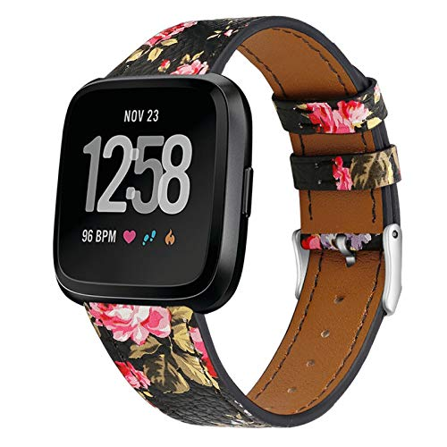 XXY Impresión De La Banda De Reloj De Banda De Cuero De Lujo para Fitbit Versa/Versa Lite Wristband Strap Strap Fitness Tracker (Color : Pink)