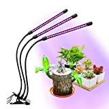 Xunpuls Plant Grow Light, Grow Lights for Indoor Plants LED Full Spectrum, 3 Heads Grow Lights, with Auto Turn On/Off Function, Timer 360°Adjustable Gooseneck, USB Adapter for Seedlings Succulents