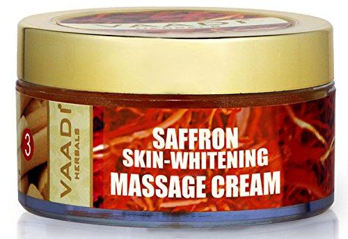 Vaadi Herbals Saffron Skin Whitening Massage Cream, Basil Oil and Shea Butter, 50g