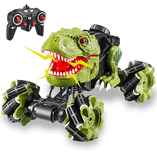 ZAYOR Monster Trucks for Boys,Dinosaur Remote Control Car with Music and Led Lights,Kids Outdoor Toys,360°Rotation RC Car Toys for Boys Age 5 6 7 8 9 10 11 12 As Birthday Gift