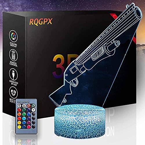 3D noche luz escopeta LED lámpara de ilusión óptica 16 colores cambio automático interruptor táctil con control remoto para regalos