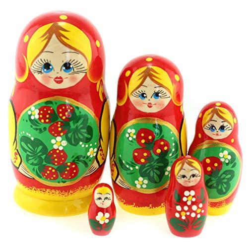 Azhna 5 Stück 10,5 cm Nistpuppe Seasons Serie Handbemalt Russische Matroschka Puppe Holz Stapelbare Babuschka Puppe (Rot)