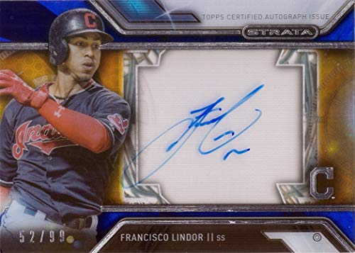 2016 Topps Strata Blue #SA-FL Francisco Lindor Certified Autograph Baseball Card - Only 99 made!