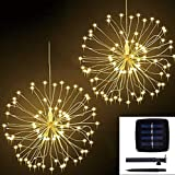 VIVICL Fireworks Dandelion Explosion Ball Solar String Lights for Garden Decoration Bouquet String IP65 Waterproof Christmas Festive Fairy Lights Outdoor Solar Lamps (2 pcs),White,120LED