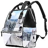 WJJSXKA Mochilas Bolsa de pañales Mochila para portátil Mochila de viaje Senderismo Mochila para mujeres Hombres - Perro de raza Husky siberiano Invierno