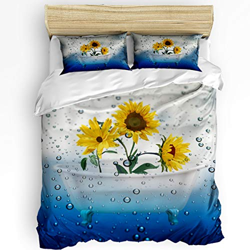 Edwiinsa Bedroom Quilt Cover Set Twin Size 3 Piece with 1 Duvet Cover and 2 Pillow Case - Sunflowers in Bathtub and Droplet - Comfy Microfiber Fabric Beding Set for Men and Women's Best Modern Style