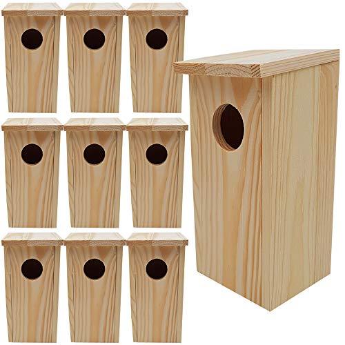 DILUMA Nistkasten Compact 10er Pack 22 x 9 x 10 cm aus FSC Holz Nisthaus perfekt für Meisen Kohlmeisen Kleiber Rotschwänzchen und weitere Vogelarten Vogelnistkasten