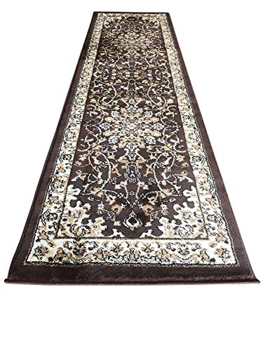 Traditional Persian Runner Area Rug 330,000 Point Brown Deir Debwan Design 603 (2 Feet X 7 Feet 2 Inch)