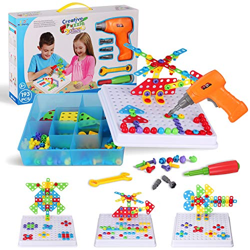 Creative Mosaic Toy Drill Puzzle Set, Kids Electric Drill and Screwdriver Tool Kit, STEM Educational Learning Toys, Construction Engineering Blocks for Boys and Girls Ages 3 4 5 6 7 8 9 10 Year Old