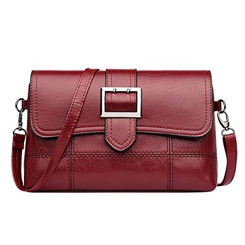 Frauen Umhängetasche Haspe Verschluss Handtasche Reine Farbe Niedlich Zarte Umhängetasche Mode Treffpunkt Tasche Weihnachtsgeschenk (Wein)