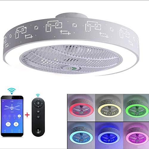 Ventiladores de techo LED modernas con iluminación con Bluetooth Altavoz RGB lámpara de techo principal Música ventilador de techo luz de luz adecuada para sala de estar Oficina Estudio Cocina