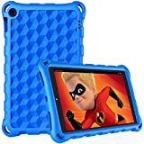 Riaour All-New Amazon Fire HD 10 Case, (2019/2017/2015 Release), Ultra-Flexible EVA Protective Lightweight Shockproof Impact-Resistant Back Cover Shell - Blue