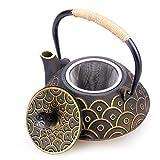HwaGui Gusseisen Teekanne Innere Wand Emaille Teekanne Mit Edelstahl Filter für Tee Liebhaber als Geschenk, Chinesischer Gesunder Kessel 800ml / 25oz [MEHRWEG]