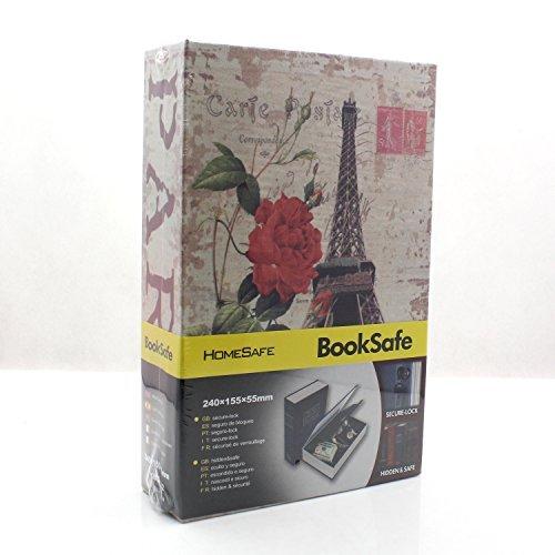 Riipoo Diversion Hidden Book Safes, B Size Eiffel Tower Pattern Book Safe, Metal Case Inside & Key Lock, Complete Book Safe Measures 9.5 x 6.1 x 2.2 inch