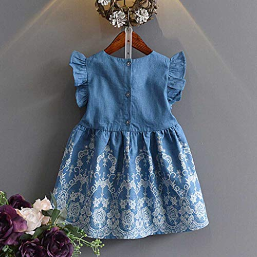 LUCOG Pas Cher Vêtements Enfants Été, 3-4 Ans Toddler Enfants Baby Filles Vêtements Broderie Denim Party Pageant Princess Dress Unisexe Chic Cadeau Saint-Patrick (Bleu)