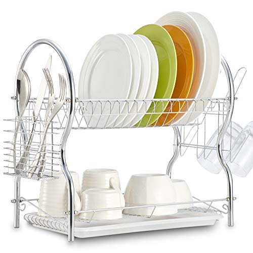 Dish Drying Rack, 2 Tier Dish Rack Kitchen Organizer with Drain Board, Chrome ALHAKIN