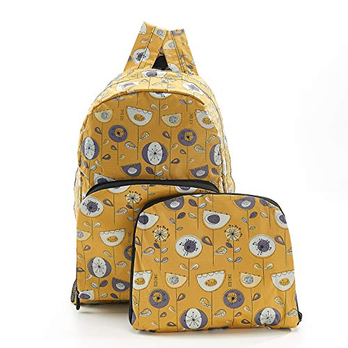 Eco-Chic Foldable Backpack (Mustard 1950's Flower, Medium)