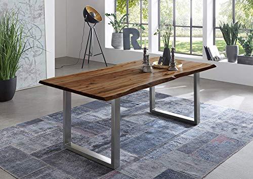 junado Baumkantentisch 120x80 cm Indira, nussbaumfarbig, Esszimmertisch aus Akazie, Holz-Tisch mit Silber lackierten Beinen