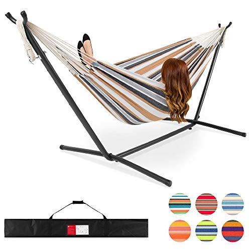Best Choice Products 2-Person Indoor Outdoor Brazilian-Style Cotton Double Hammock Bed w/Carrying Bag, Steel Stand, Desert Stripes