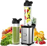homgeek Personal Blender, 300W Portable Mini Blender for Shakes and Smoothies, Single Serve Small Smoothie Blender with 2 Tritan BPA-Free 20oz Travel Bottles