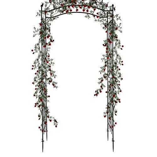 Cocoarm Rankbogen Rosen Torbogen Garten Outdoor Garden Arch Kletterpflanzen Laube Metall Rosenbogen für Patio Rasen Hinterhof Party Hochzeitszeremonie Decora, 230 x 110 x 44cm