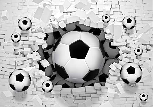 wandmotiv24 Fototapete Fussball Wanddurchbruch 3D XL 350 x 245 cm - 7 Teile Fototapeten, Wandbild, Motivtapeten, Vlies-Tapeten Sport, Loch, Ziegel M1287