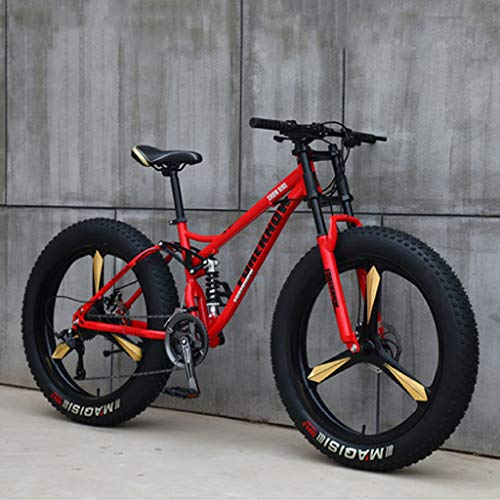 Mountain Bikes for Adults Men & Women 26 inch Wheels Boys Girls Fat Tire Bike 3-Spoke Full Suspension High-Carbon Steel MTB with Dual Disc Brakes 7/21 / 24/27 / 30 Speed Bicycle