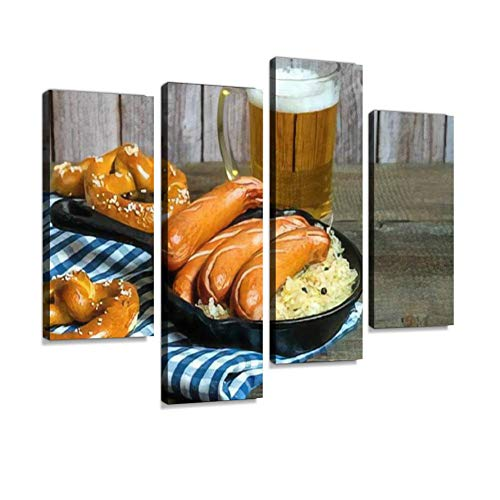 HIPOLOTUS 4 Panel Canvas Pictures Traditional German Sausages Bratwurst with Sauerkraut Beer and Wall Art Prints Paintings Stretched & Framed Poster Home Living Room Decoration Ready to Hang