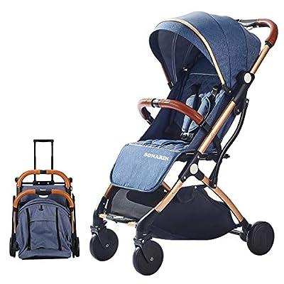 SONARIN Silla de paseo ligera y compacta,cochecito de portátil,plegable con una mano,arnés de cinco puntos,ideal para Avión