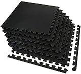 Alfombrilla para suelo de gimnasio, 6 piezas, 60 x 60 cm, azulejos de rompecabezas de espuma entrelazados, alfombrillas protectoras para equipos de entrenamiento o gimnasio, cojín de goma an
