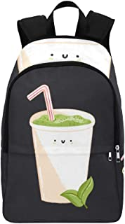 Cute Boba Green Tea Drink Casual Daypack Travel Bag College School Backpack for Mens and Women