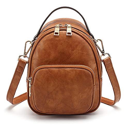 Leather Vintage Bag - Zaino da donna, mini portamonete, borsa a tracolla, zaino casual, borsa da viaggio leggera e leggera, Marrone, taglia unica