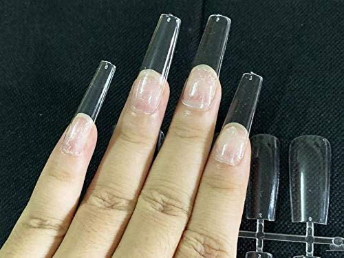 ALLKEM Soft Gel Clear Extra Long Square False Press on Nails full cover 360 Pcs Set