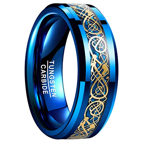 VAKKI Polished Gold Plated Celtic Dragon Knot over Blue Carbon Fiber Tungsten Wedding Ring for Men Size 9