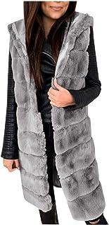 Briskorry Dames wintervest lang gewatteerd vest mouwloos gewatteerde jas oversized cardigan bontjas warme winterjas kunstb...