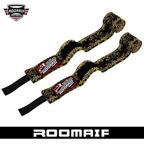 ROOMAIF - Fasce Boxe Bende - Fasciature da Boxe - Fasce da Boxe - Polsi Pugilato Bendaggi MMA Guanti Interi Sottoguanti 3.5 M IT (Giallo Nero, 3.5 M)