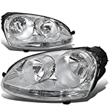 Pair of Chrome Housing Headlights Assembly Lamps Replacement for Volkswagen VW Jetta Rabbit 05-10
