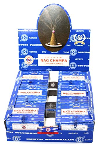 Nag Champa Satya Sai Baba Temple Incense Cones Carton, 12 Box
